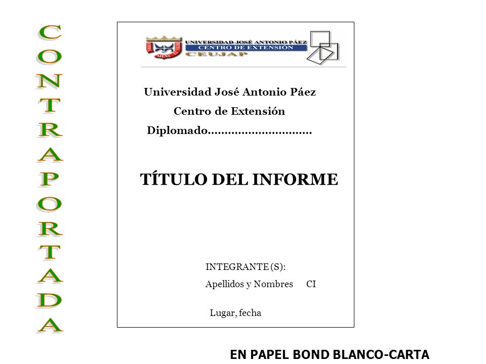 Universidad José Antonio Páez EN PAPEL BOND BLANCO-CARTA