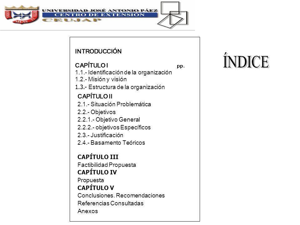 ÍNDICE INTRODUCCIÓN CAPÍTULO I pp.