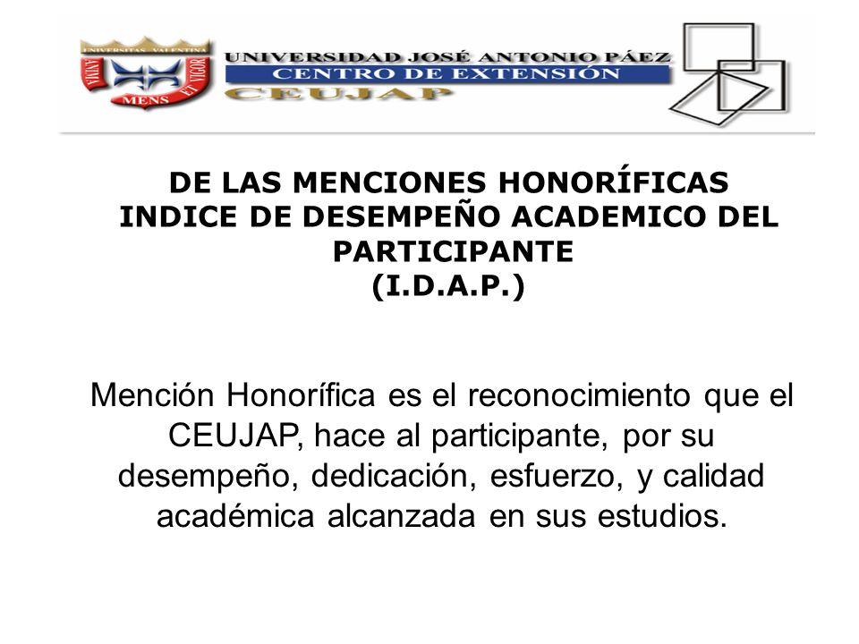 DE LAS MENCIONES HONORÍFICAS INDICE DE DESEMPEÑO ACADEMICO DEL