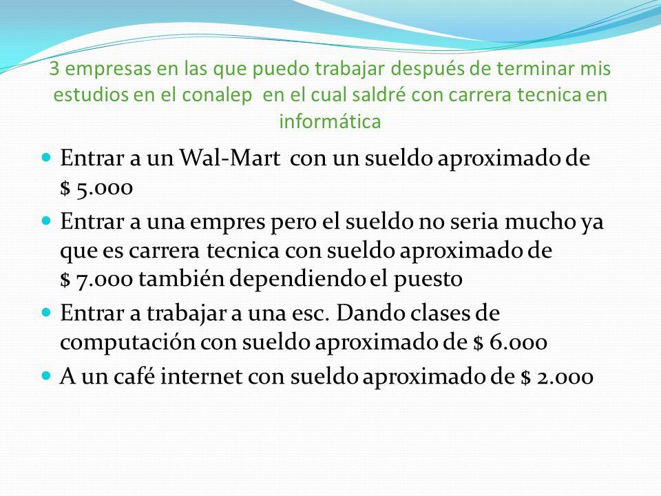 Entrar a un Wal-Mart con un sueldo aproximado de $ 5.000