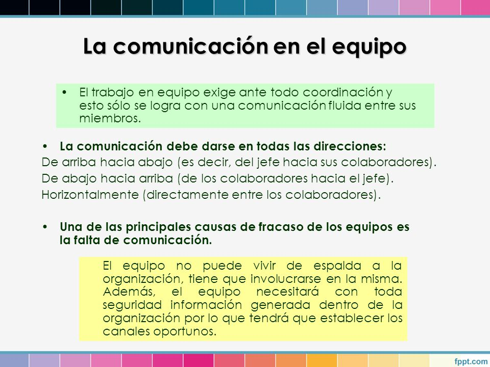 La comunicación en el equipo