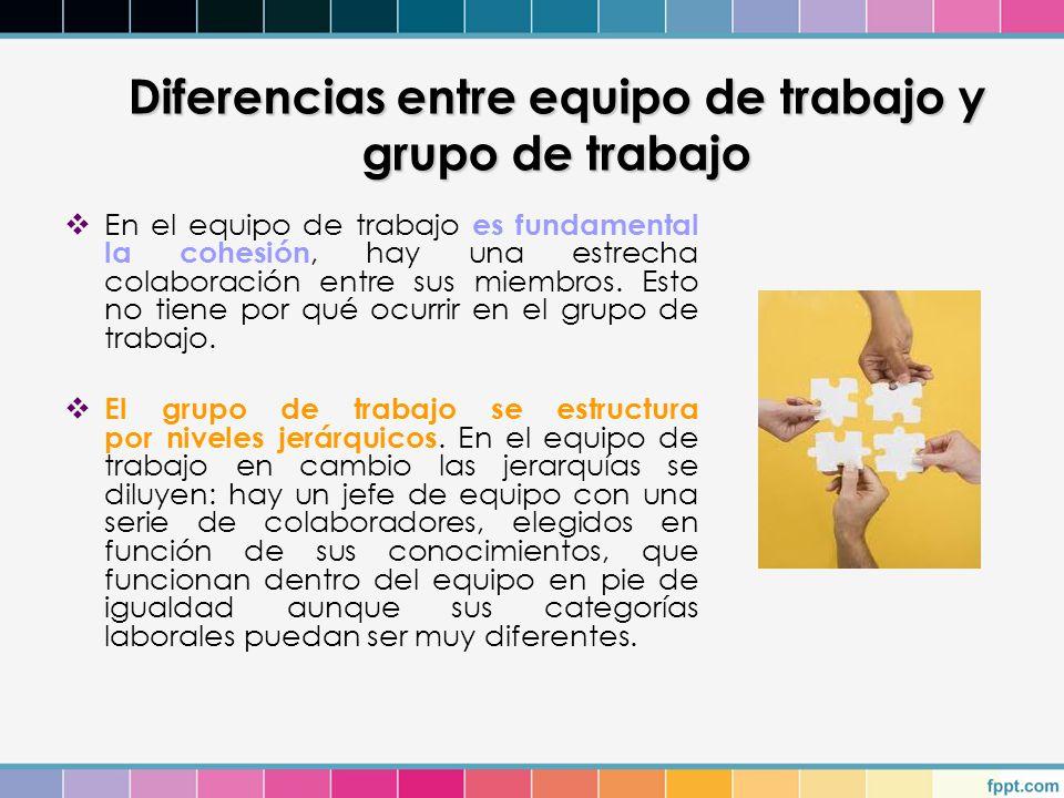 Diferencias entre equipo de trabajo y grupo de trabajo