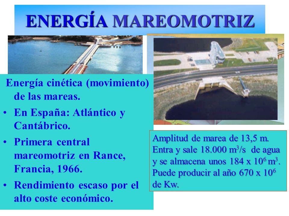ENERGÍA MAREOMOTRIZ Energía cinética (movimiento) de las mareas.