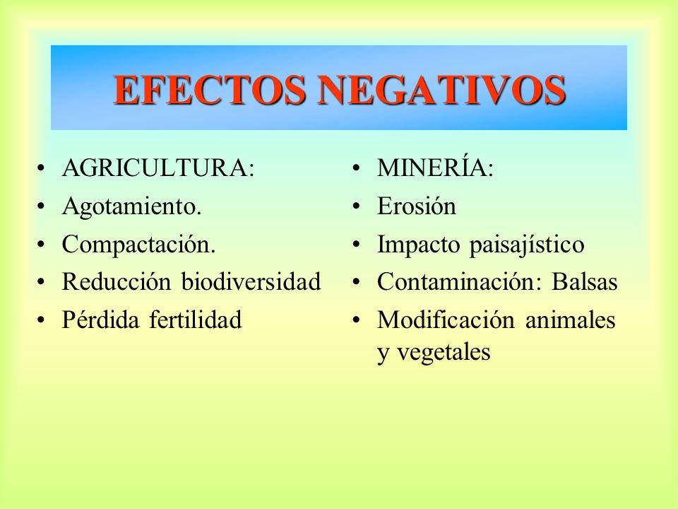 EFECTOS NEGATIVOS AGRICULTURA: Agotamiento. Compactación.
