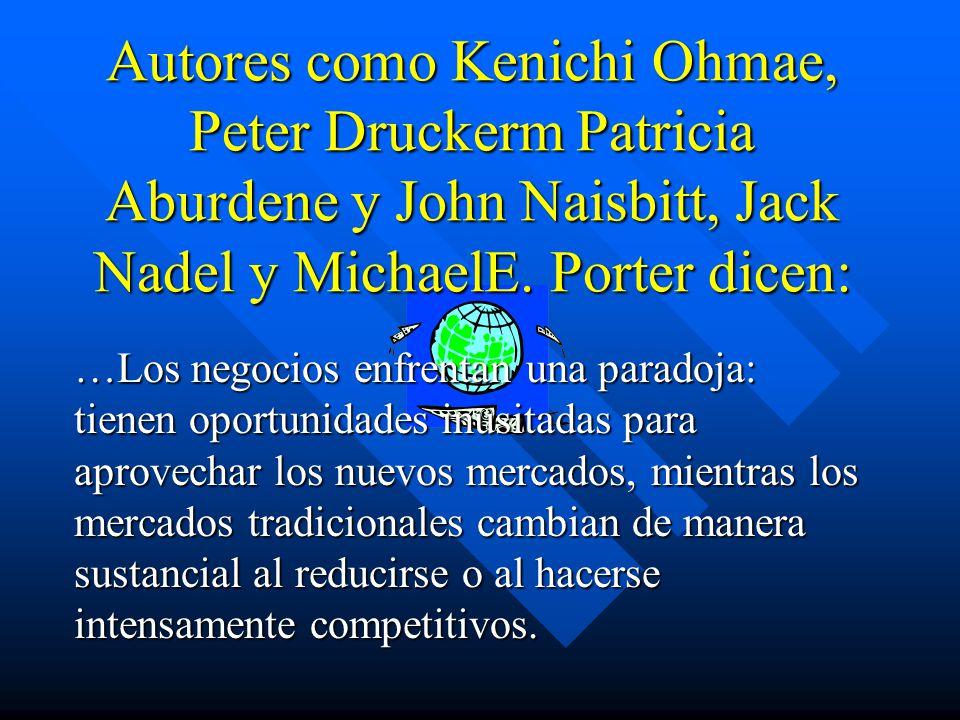 Autores como Kenichi Ohmae, Peter Druckerm Patricia Aburdene y John Naisbitt, Jack Nadel y MichaelE. Porter dicen: