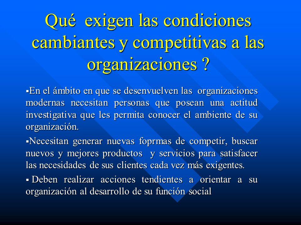Qué exigen las condiciones cambiantes y competitivas a las organizaciones
