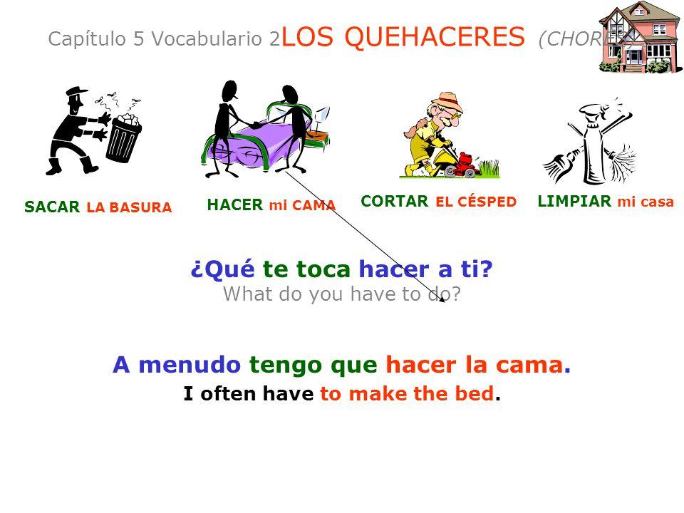 Capítulo 5 Vocabulario 2LOS QUEHACERES (CHORES)