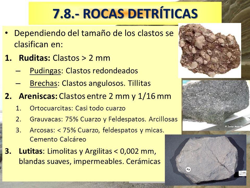 7.8.- ROCAS DETRÍTICAS Dependiendo del tamaño de los clastos se clasifican en: Ruditas: Clastos > 2 mm.