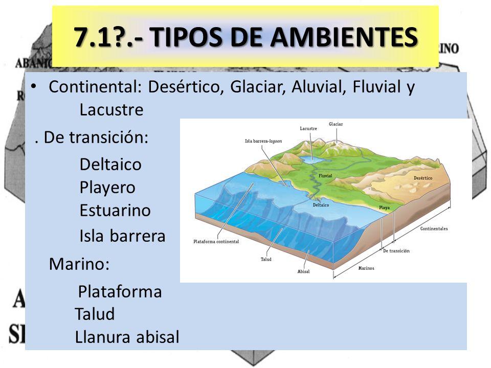 7.1 .- TIPOS DE AMBIENTES Continental: Desértico, Glaciar, Aluvial, Fluvial y Lacustre. . De transición: