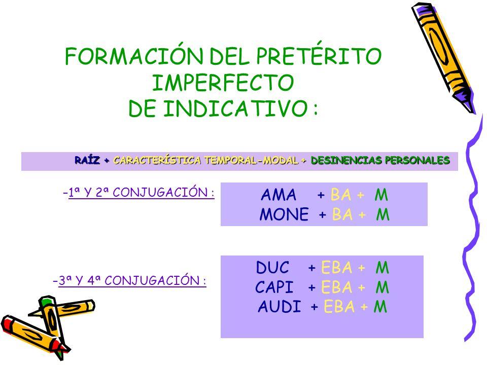 FORMACIÓN DEL PRETÉRITO IMPERFECTO DE INDICATIVO :