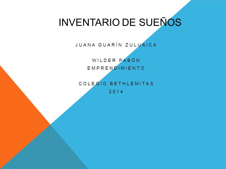 Inventario de sueños Juana Guarín Zuluaica Wilder Pabón Emprendimiento