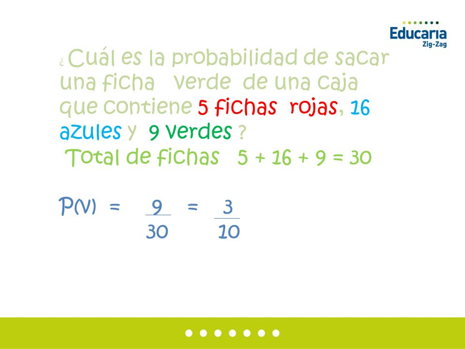 Total de fichas 5 + 16 + 9 = 30 P(v) = 9 = 3 30 10