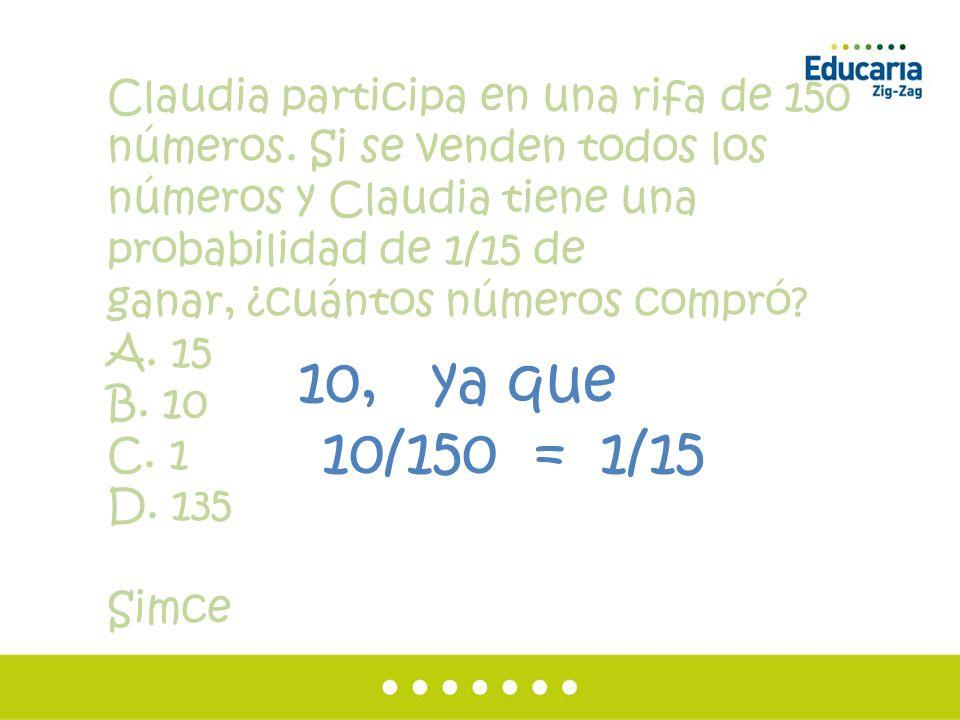 Claudia participa en una rifa de 150 números