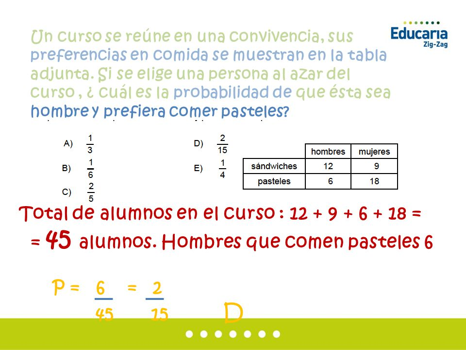 Total de alumnos en el curso : 12 + 9 + 6 + 18 =