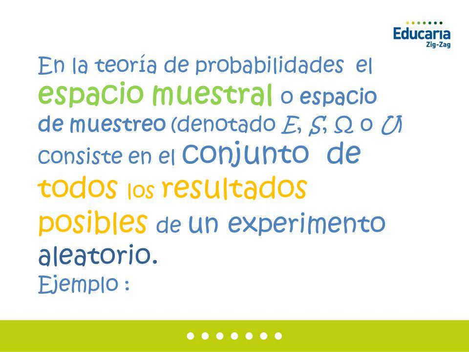 En la teoría de probabilidades el espacio muestral o espacio de muestreo (denotado E, S, Ω o U) consiste en el conjunto de todos los resultados posibles de un experimento aleatorio.