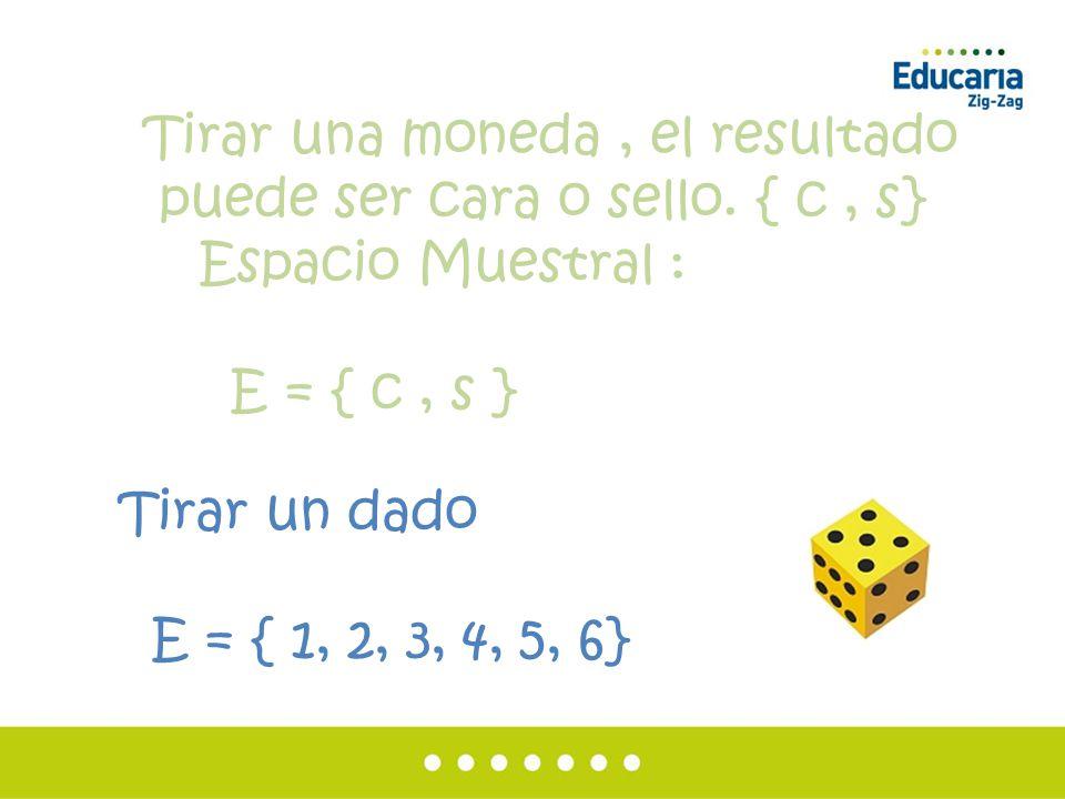 Espacio Muestral : E = { c , s } Tirar un dado E = { 1, 2, 3, 4, 5, 6}