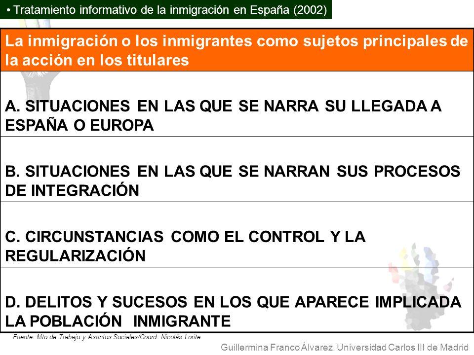 A. SITUACIONES EN LAS QUE SE NARRA SU LLEGADA A ESPAÑA O EUROPA