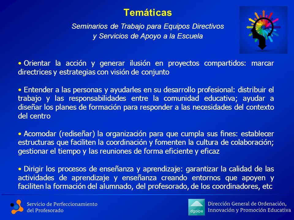 Temáticas Seminarios de Trabajo para Equipos Directivos