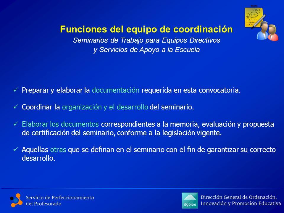 Funciones del equipo de coordinación