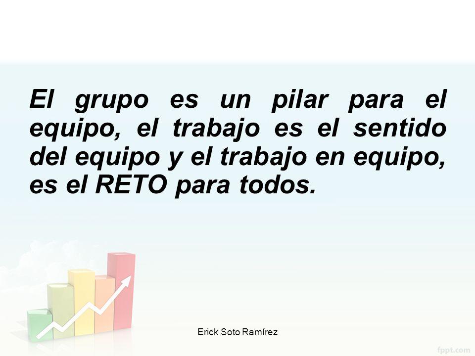 El grupo es un pilar para el equipo, el trabajo es el sentido del equipo y el trabajo en equipo, es el RETO para todos.