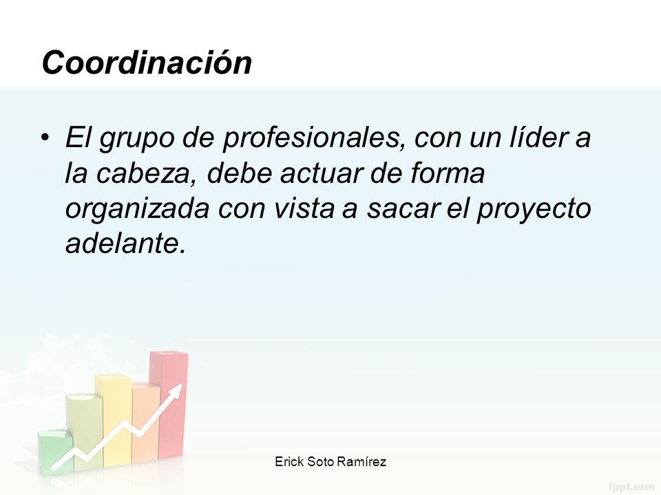 Coordinación El grupo de profesionales, con un líder a la cabeza, debe actuar de forma organizada con vista a sacar el proyecto adelante.