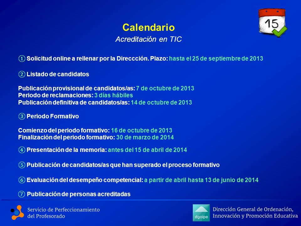 Calendario Acreditación en TIC