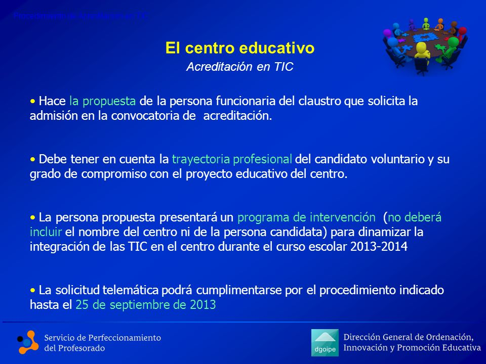 El centro educativo Acreditación en TIC