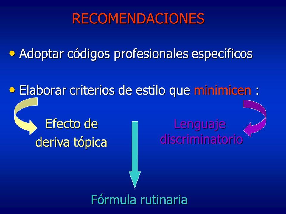 RECOMENDACIONES Adoptar códigos profesionales específicos