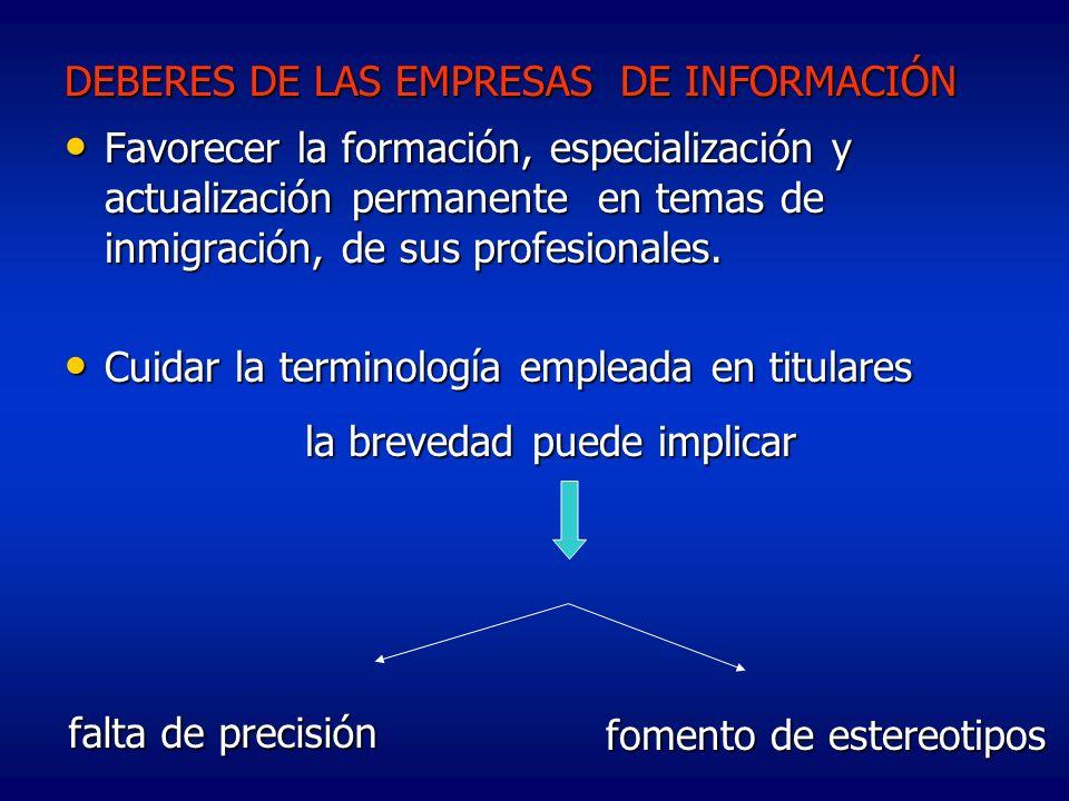 DEBERES DE LAS EMPRESAS DE INFORMACIÓN