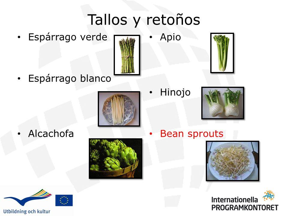 Tallos y retoños Espárrago verde Espárrago blanco Alcachofa Apio