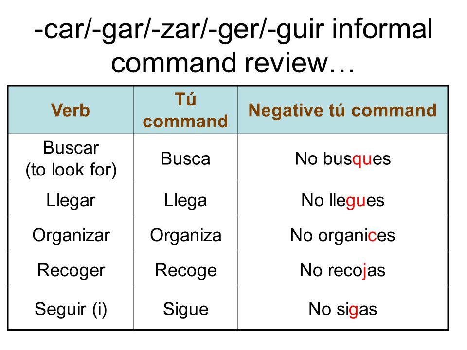 -car/-gar/-zar/-ger/-guir informal command review…