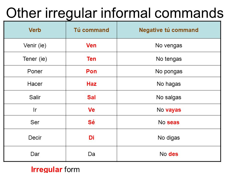 Other irregular informal commands