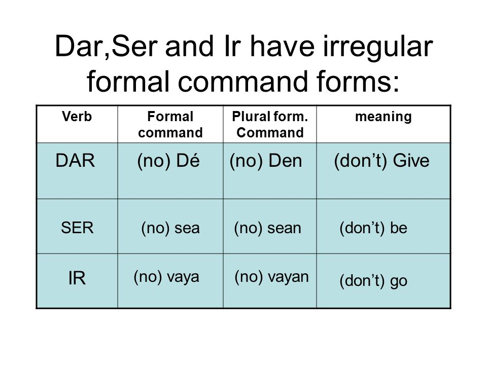 Dar,Ser and Ir have irregular formal command forms: