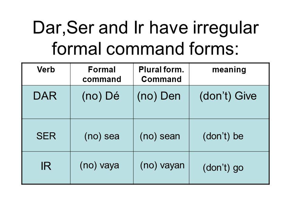 Dar,Ser and Ir have irregular formal command forms:
