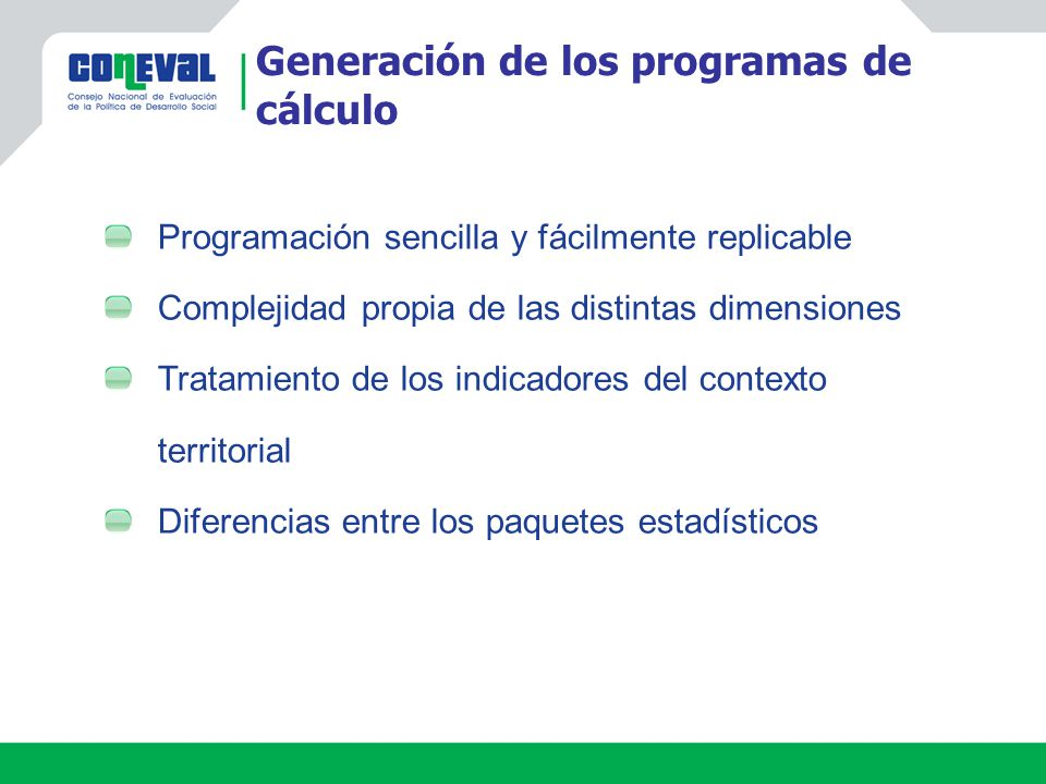 Generación de los programas de cálculo