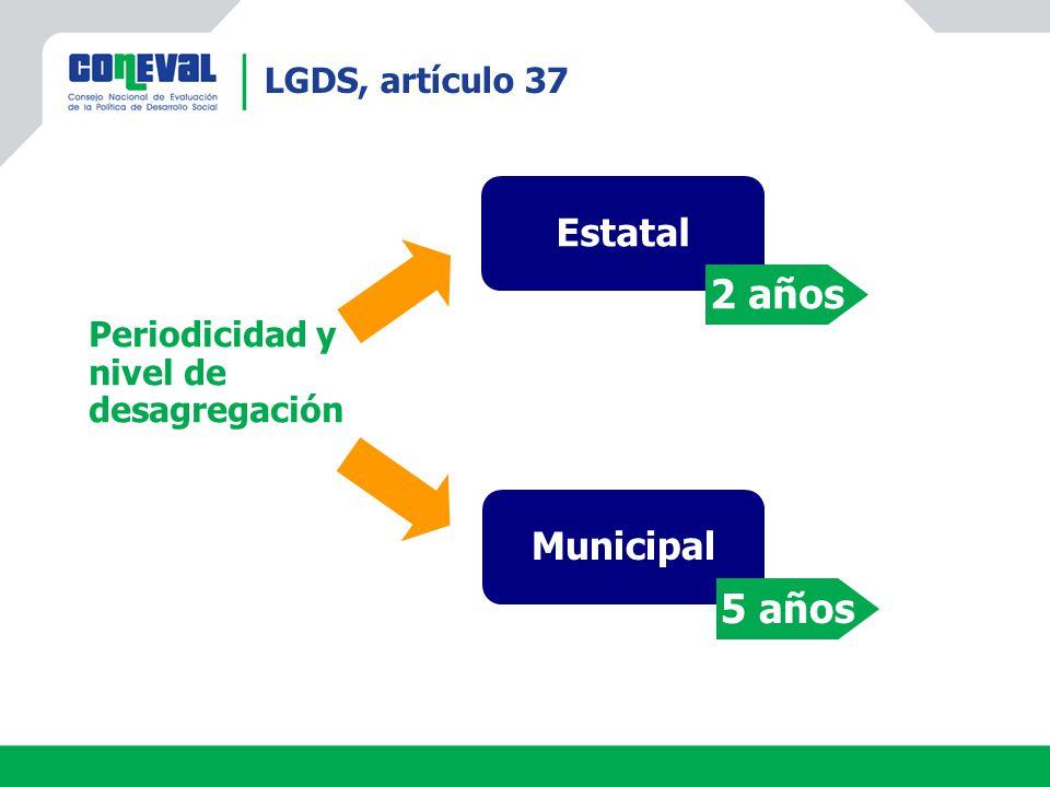 2 años 5 años Estatal Municipal LGDS, artículo 37