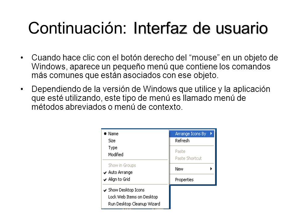 Continuación: Interfaz de usuario