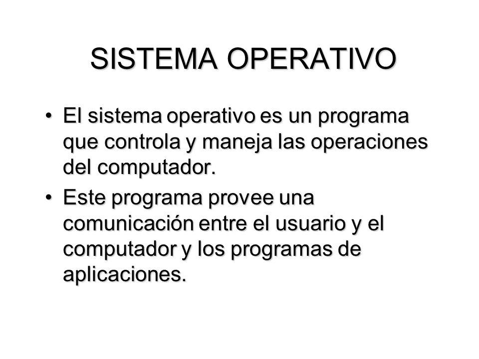 SISTEMA OPERATIVO El sistema operativo es un programa que controla y maneja las operaciones del computador.