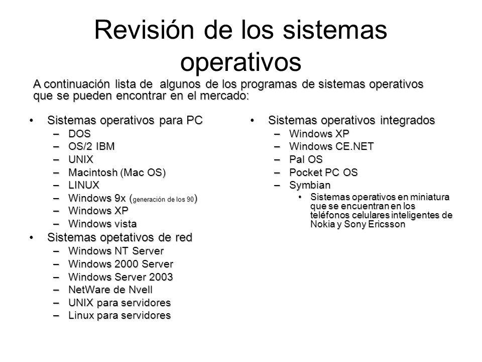 Revisión de los sistemas operativos