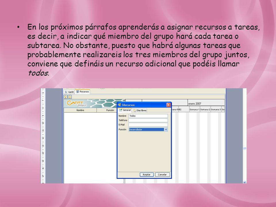 En los próximos párrafos aprenderás a asignar recursos a tareas, es decir, a indicar qué miembro del grupo hará cada tarea o subtarea.