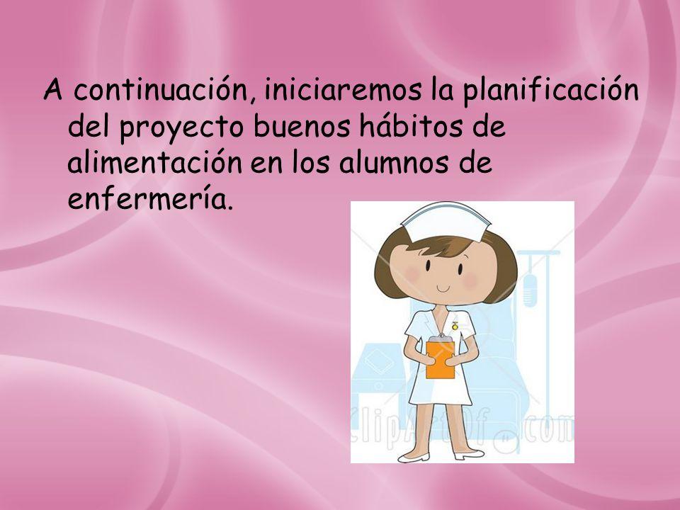 A continuación, iniciaremos la planificación del proyecto buenos hábitos de alimentación en los alumnos de enfermería.