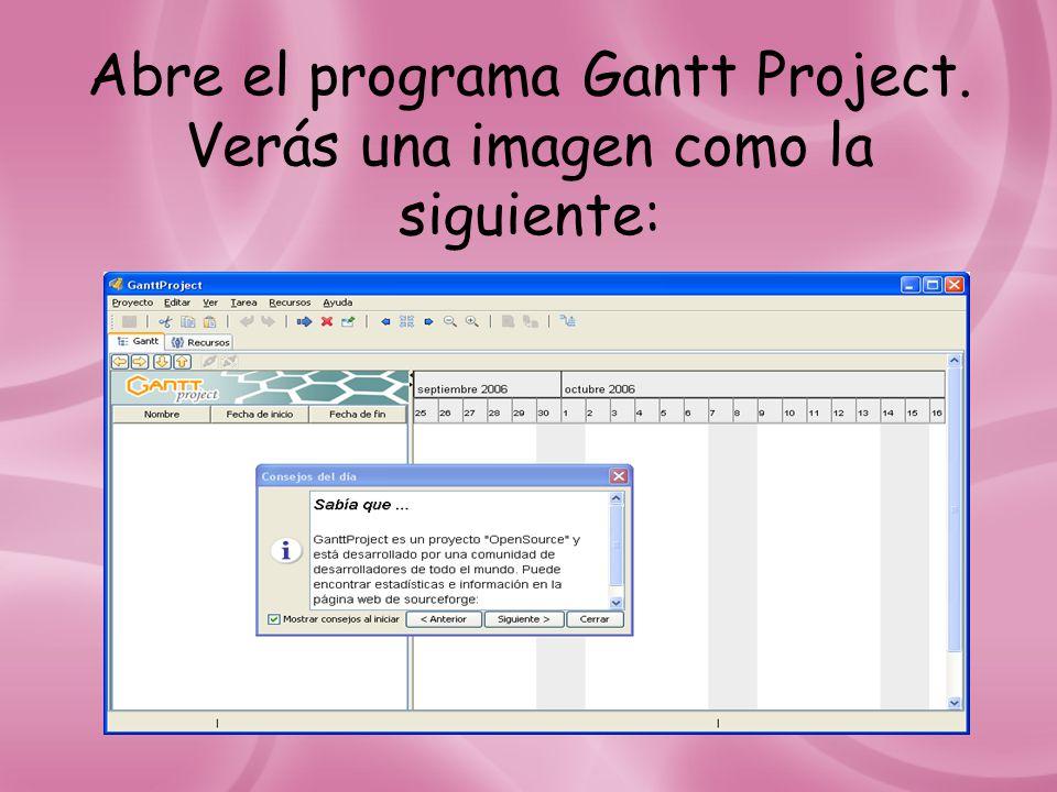 Abre el programa Gantt Project. Verás una imagen como la siguiente: