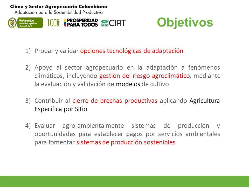 Objetivos Probar y validar opciones tecnológicas de adaptación