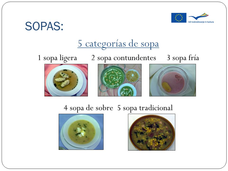 SOPAS: 5 categorías de sopa