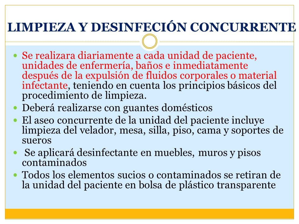 LIMPIEZA Y DESINFECIÓN CONCURRENTE