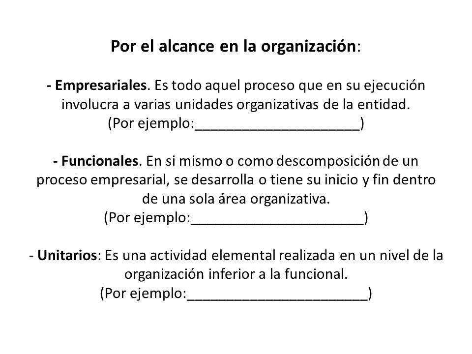 Por el alcance en la organización: - Empresariales