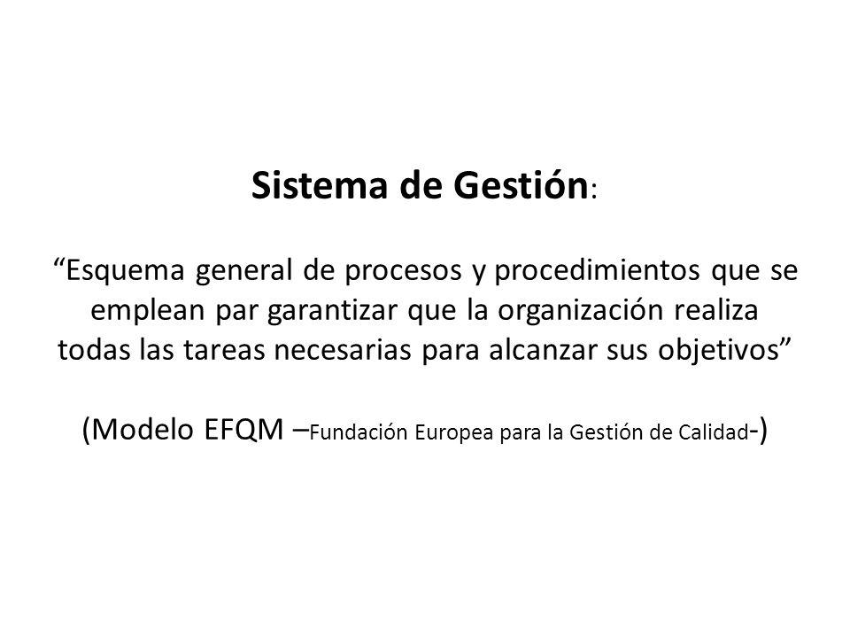 Sistema de Gestión: Esquema general de procesos y procedimientos que se emplean par garantizar que la organización realiza todas las tareas necesarias para alcanzar sus objetivos (Modelo EFQM –Fundación Europea para la Gestión de Calidad-)