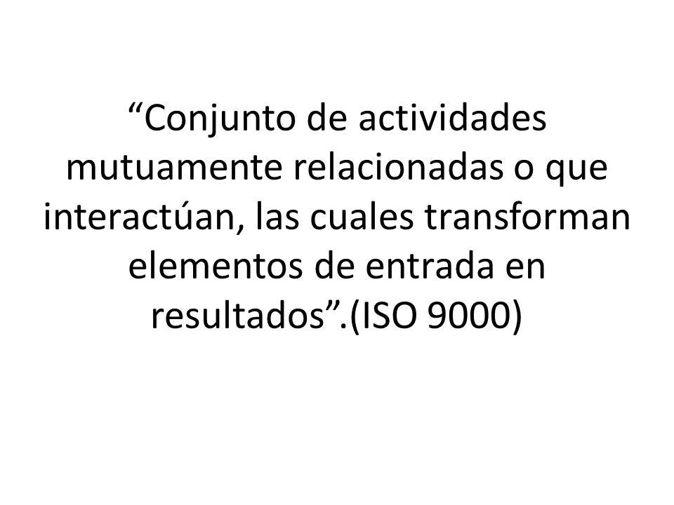 Conjunto de actividades mutuamente relacionadas o que interactúan, las cuales transforman elementos de entrada en resultados .(ISO 9000)