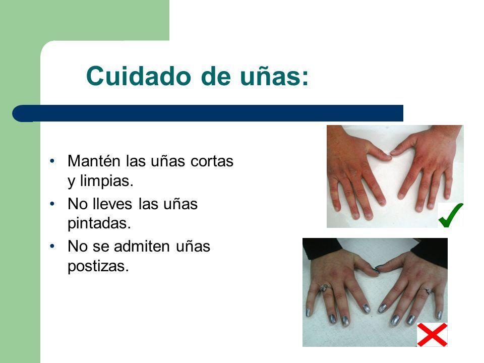 Cuidado de uñas: Mantén las uñas cortas y limpias.