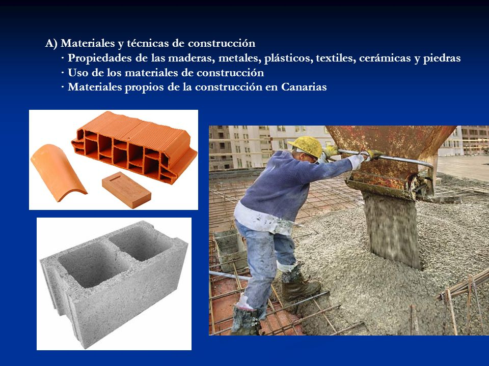 A) Materiales y técnicas de construcción
